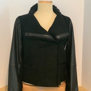 Vince sweater/leather jacket